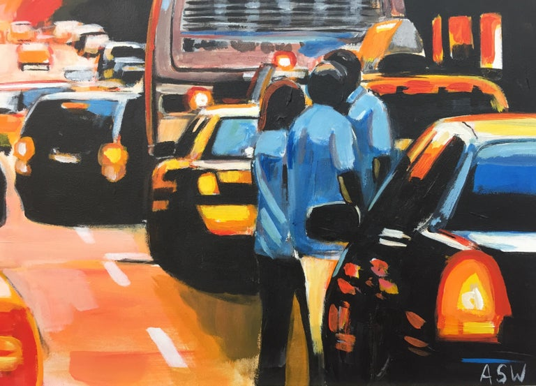 Figures at Manhattan Henge Sunset New York City by Leading British Urban Artist For Sale 10