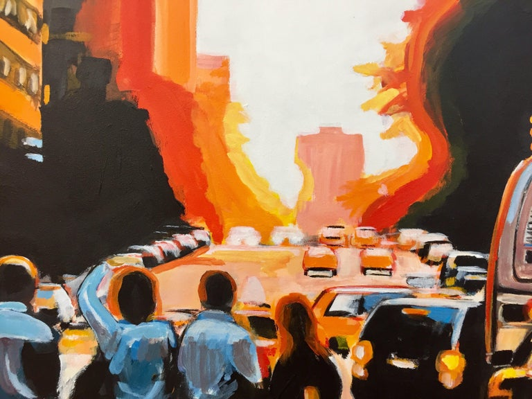 Figures at Manhattan Henge Sunset New York City by Leading British Urban Artist For Sale 7