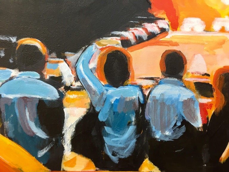 Figures at Manhattan Henge Sunset New York City by Leading British Urban Artist For Sale 9