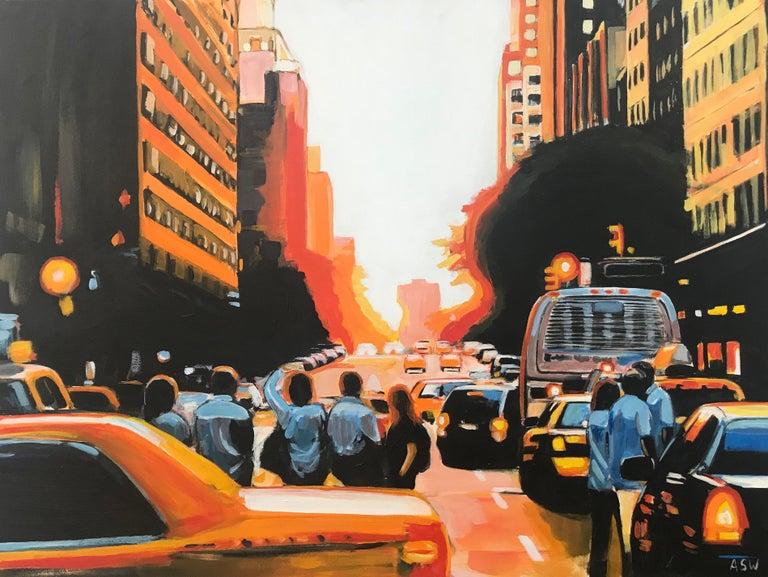Figures at Manhattan Henge Sunset New York City by Leading British Urban Artist For Sale 5