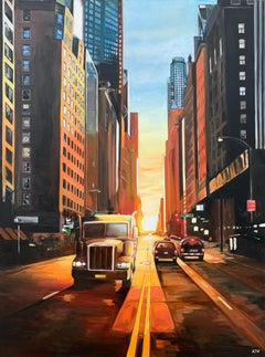 Manhattan Henge Truck New York City Sunset by Contemporary British Artist