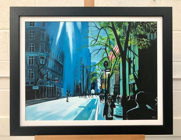 Blue Sky in New York City Sun by British Contemporary Urban Landscape Artist - Young British Artists (YBA) Painting by Angela Wakefield