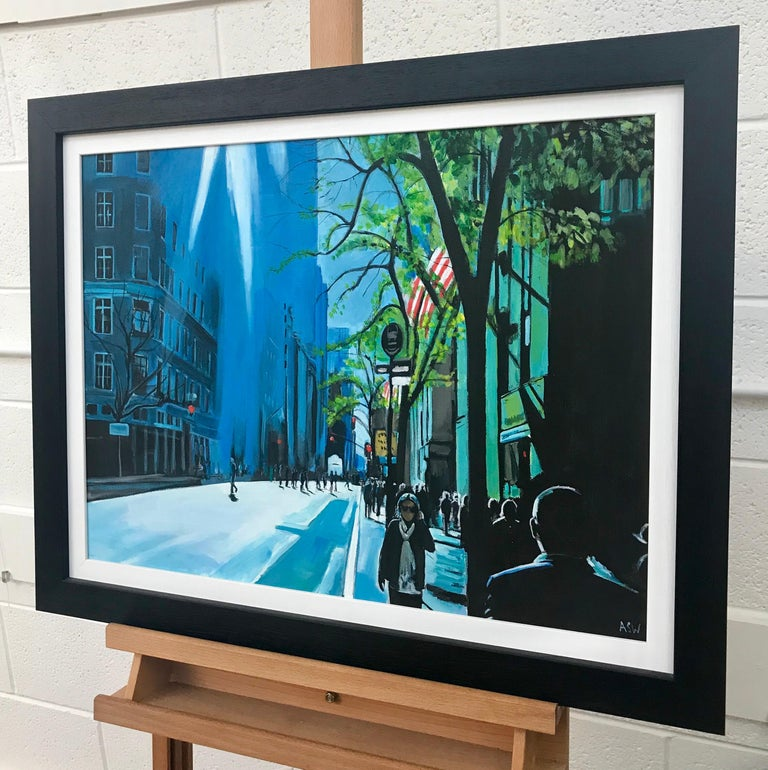 Blue Sky, Sunshine on Manhattan Street - Figurative New York City Painting by Leading British Urban Landscape Artist, Angela Wakefield, with dramatic light and colours.  Art measures 24 x 18 inches Frame measure 29 x 23 inches  Angela Wakefield has
