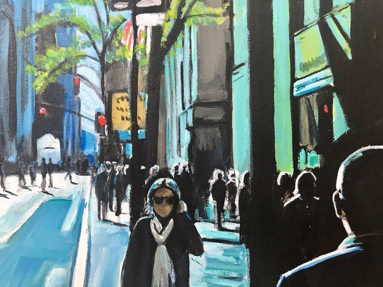 Blue Sky in New York City Sun by British Contemporary Urban Landscape Artist For Sale 2