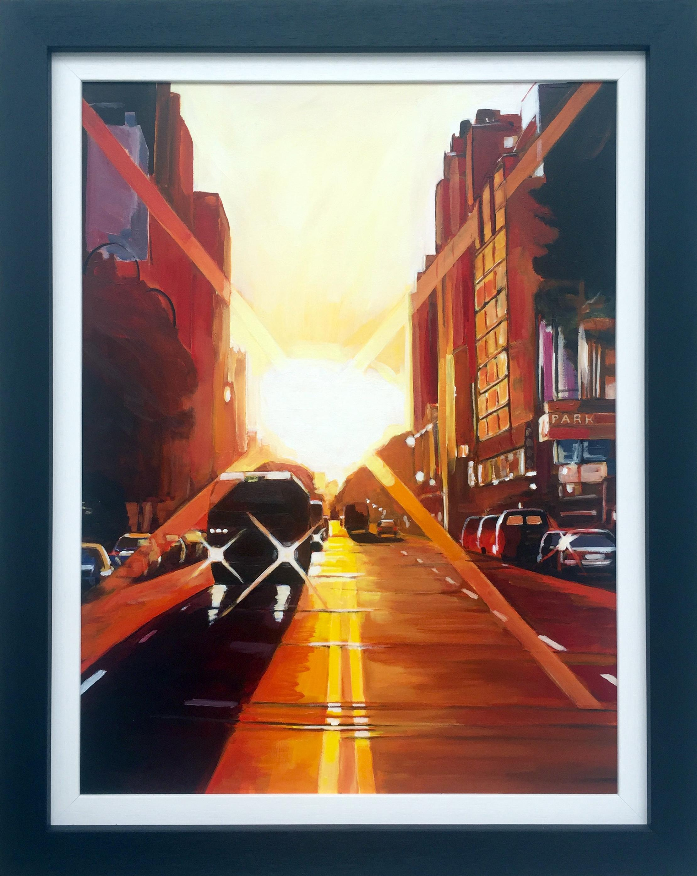 Manhattan Sunset New York City NYC Street Painting by English Landscape Artist
