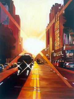 Manhattan Sunset New York City NYC Street Painting by English Landscape Artist