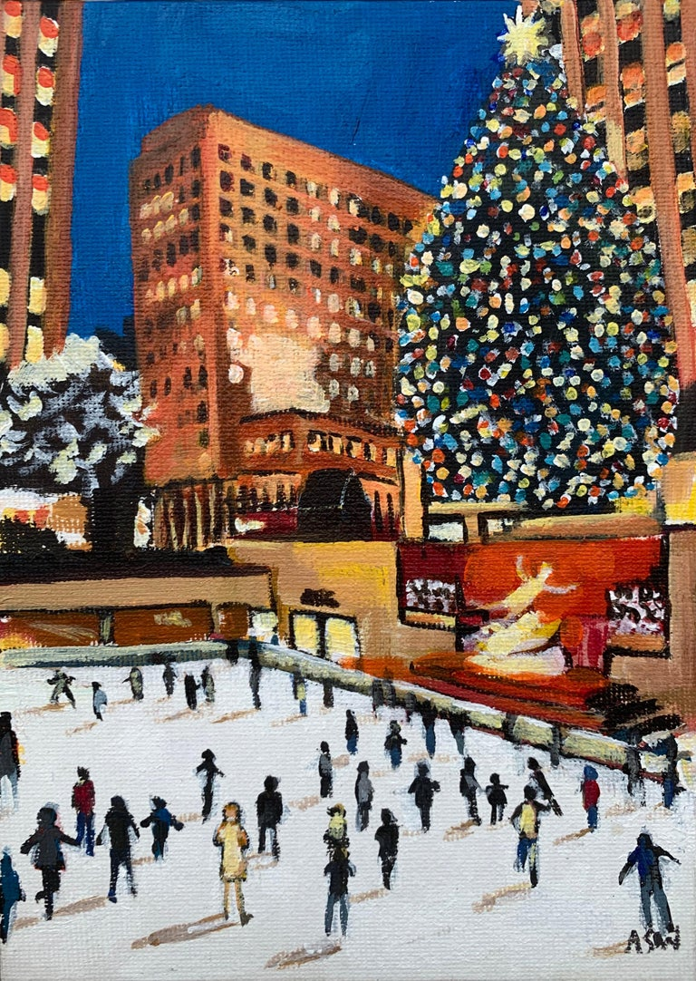 Miniature Original Painting of Central Park Christmas New York by British Artist - Brown Landscape Painting by Angela Wakefield