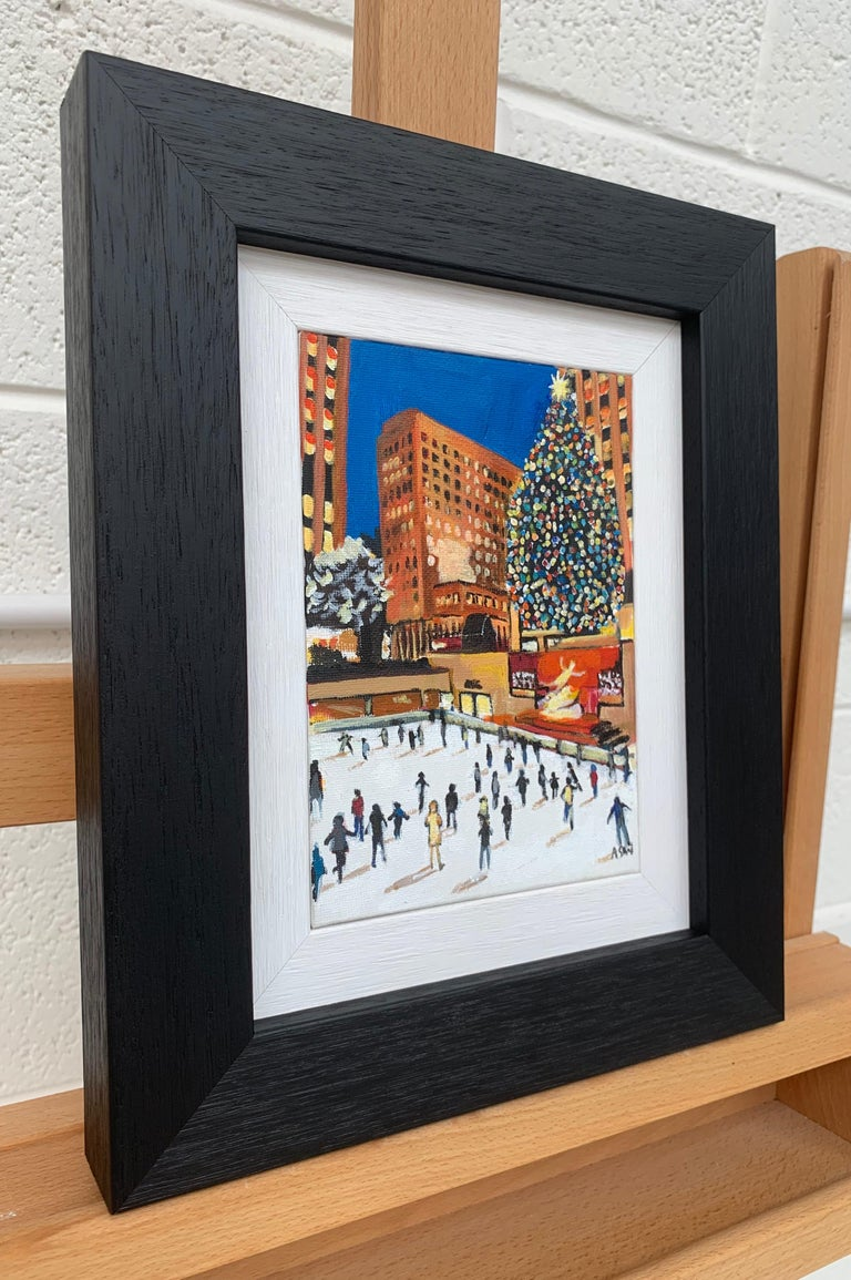 Miniature Original Painting of Central Park Christmas in New York City by British Artist, Angela Wakefield.   (Please note that the unframed size is 5 x 7 inches, framed size is 10 x 12 inches).  Angela Wakefield has twice been on the front cover of
