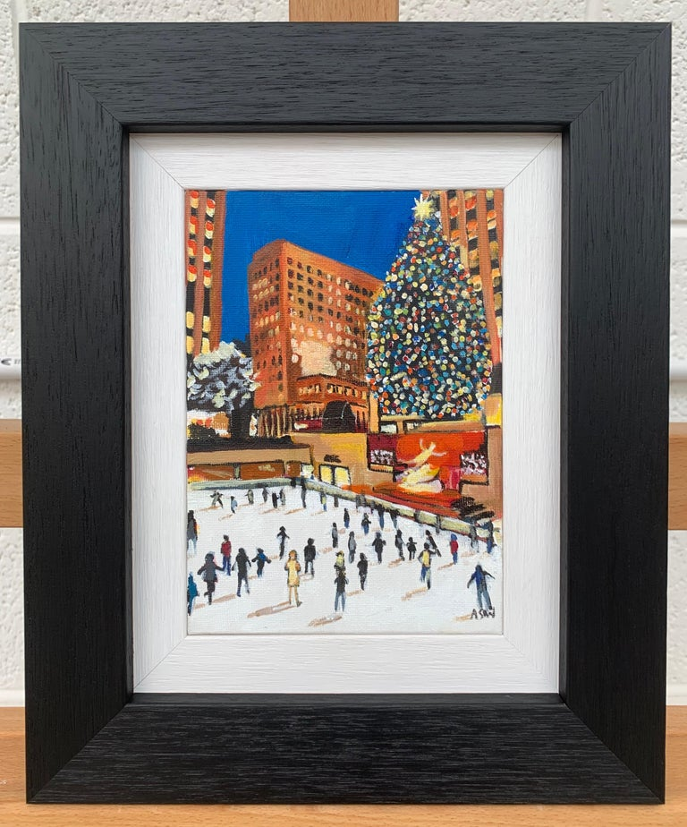 Miniature Original Painting of Central Park Christmas New York by British Artist For Sale 1