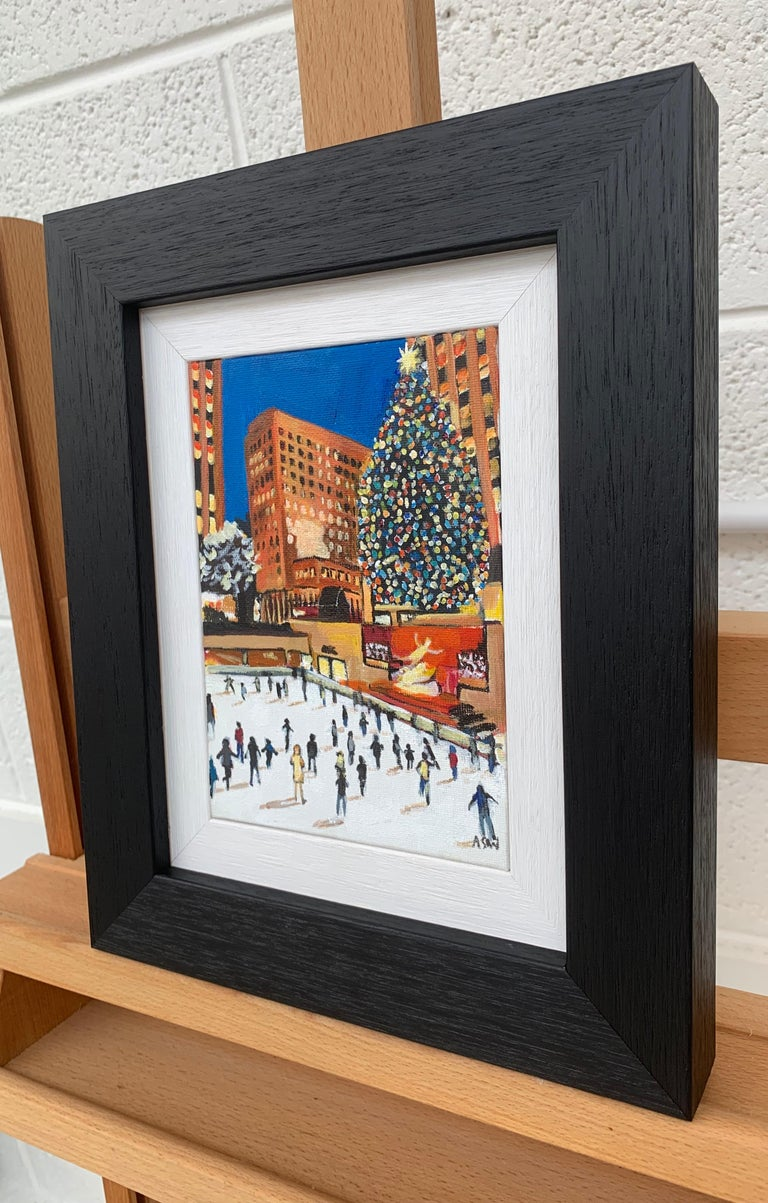 Miniature Original Painting of Central Park Christmas New York by British Artist For Sale 2