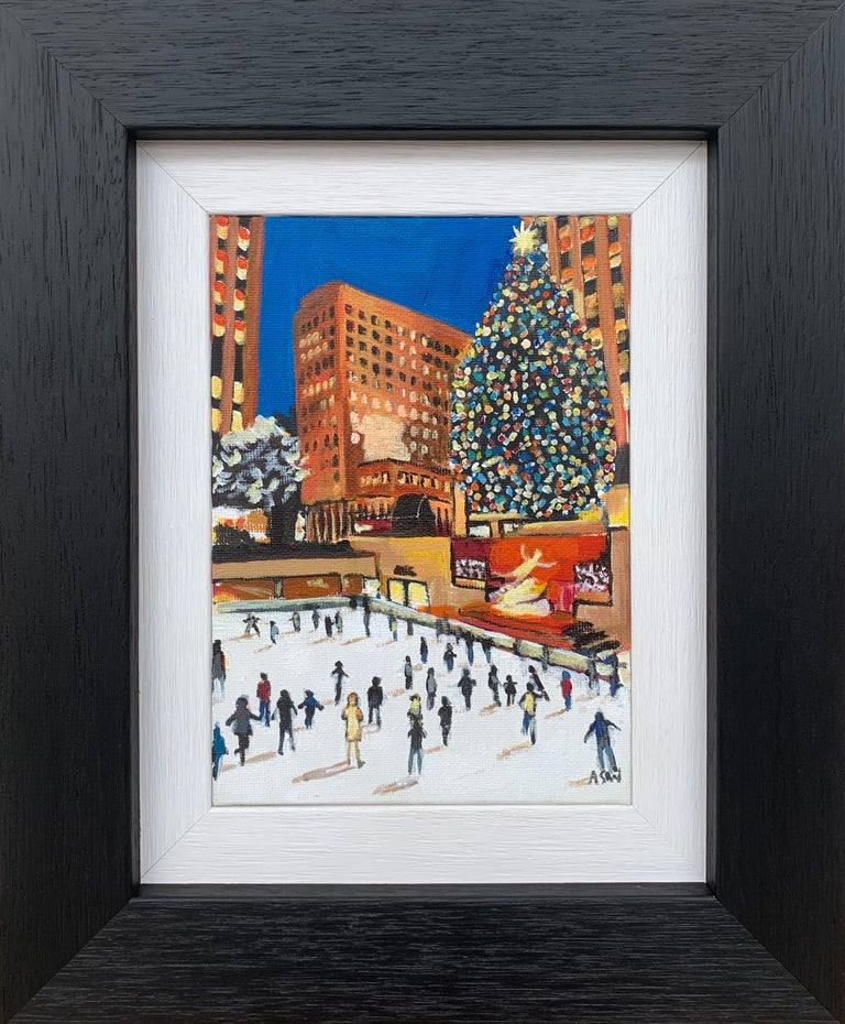 Angela Wakefield Landscape Painting - Miniature Original Painting of Central Park Christmas New York by British Artist
