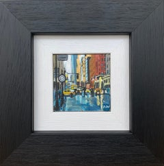 Miniature Original Painting of New York City Rain by Collectible British Artist