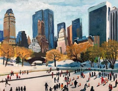 Miniature Painting of Skaters in Central Park New York City by British Artist