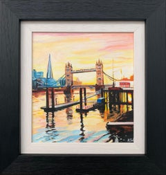Miniature Painting of Shard & Tower Bridge London by British Contemporary Artist