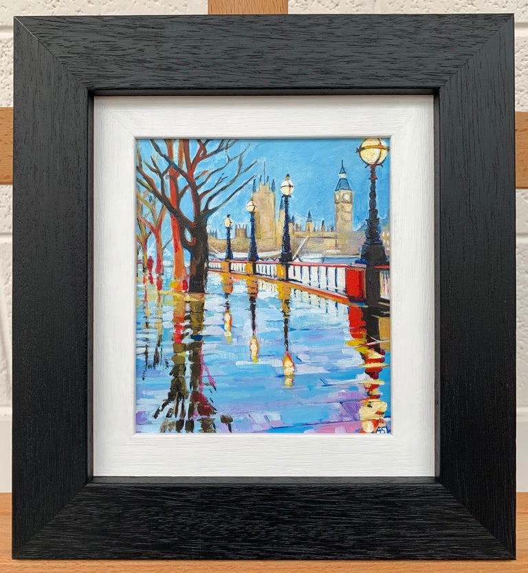 Miniature Painting of Victoria Embankment London by British Urban City Artist - Gray Landscape Painting by Angela Wakefield