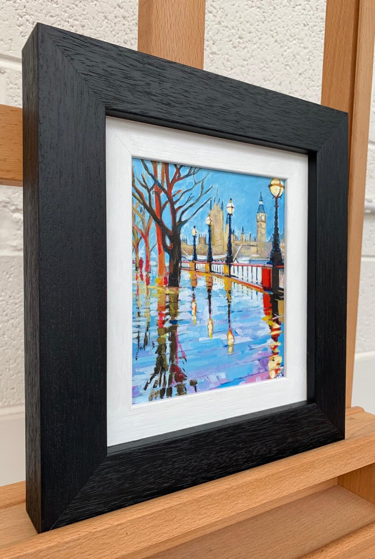 Miniature Painting of Victoria Embankment in Westminster, London, with the Houses of Parliament and Big Ben in the distance. This is a unique original from leading British Cityscape Artist, Angela Wakefield.  Angela Wakefield has twice been on the