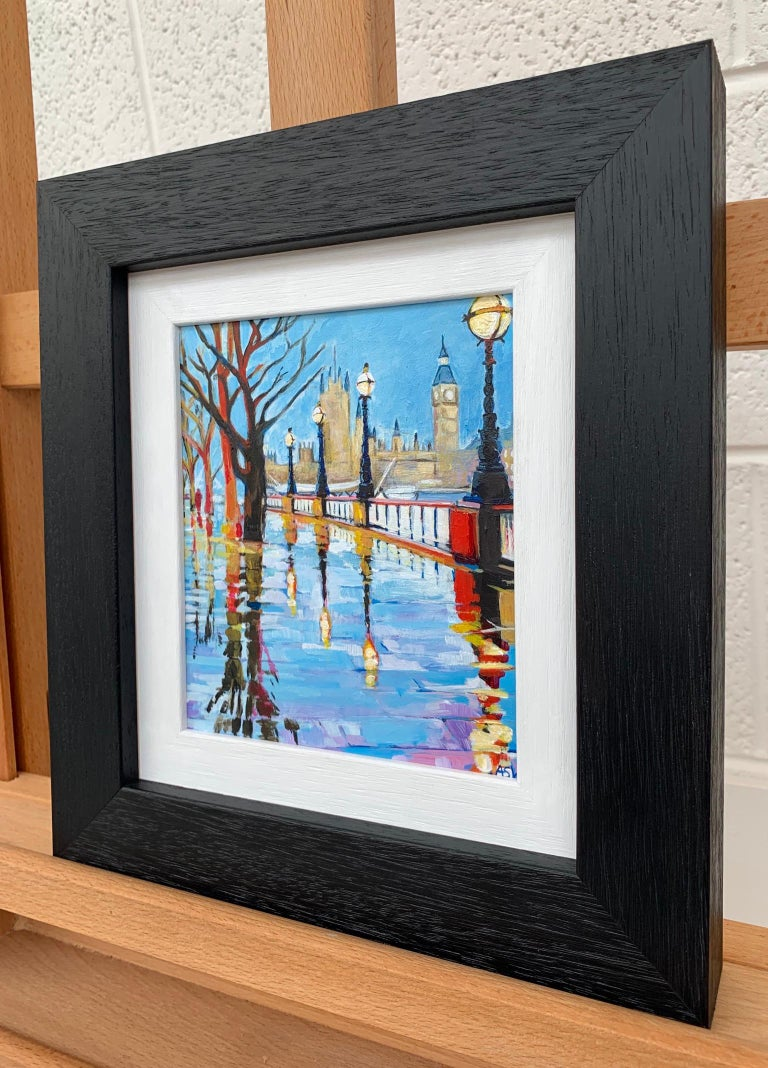 Miniature Painting of Victoria Embankment London by British Urban City Artist For Sale 1