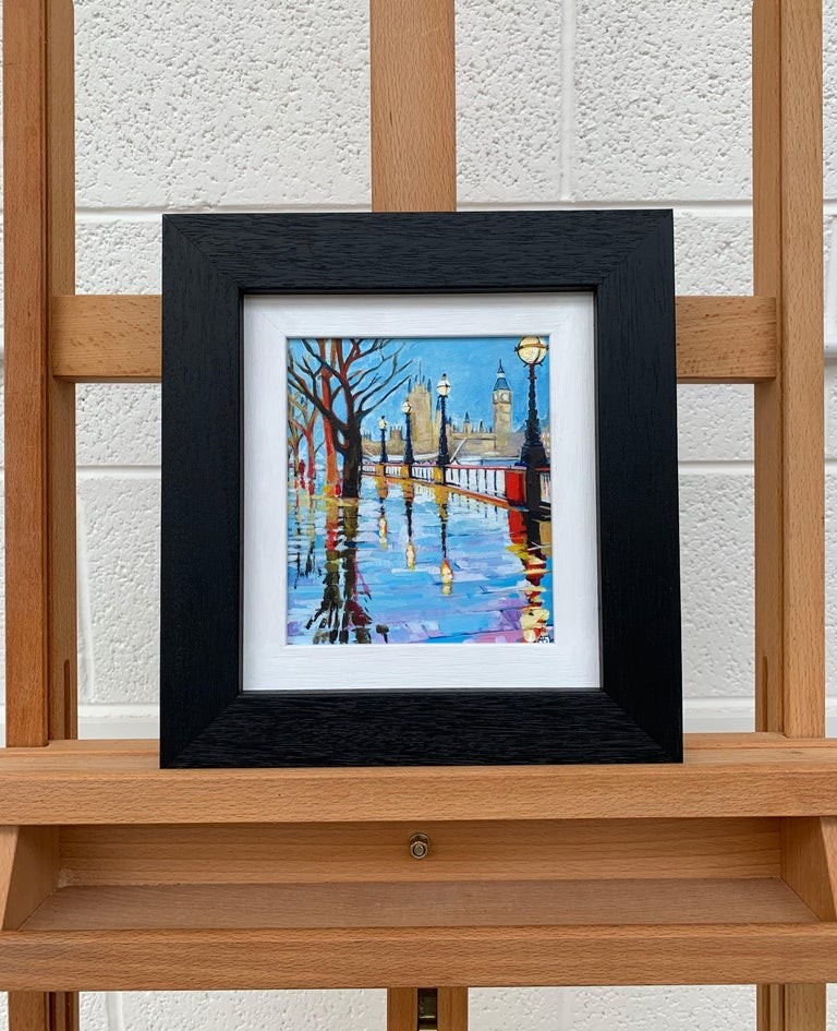 Miniature Painting of Victoria Embankment London by British Urban City Artist For Sale 2