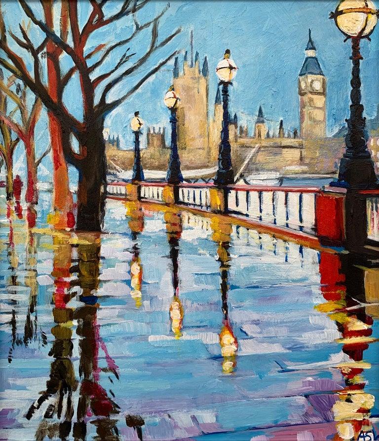 Angela Wakefield Landscape Painting - Miniature Painting of Victoria Embankment London by British Urban City Artist