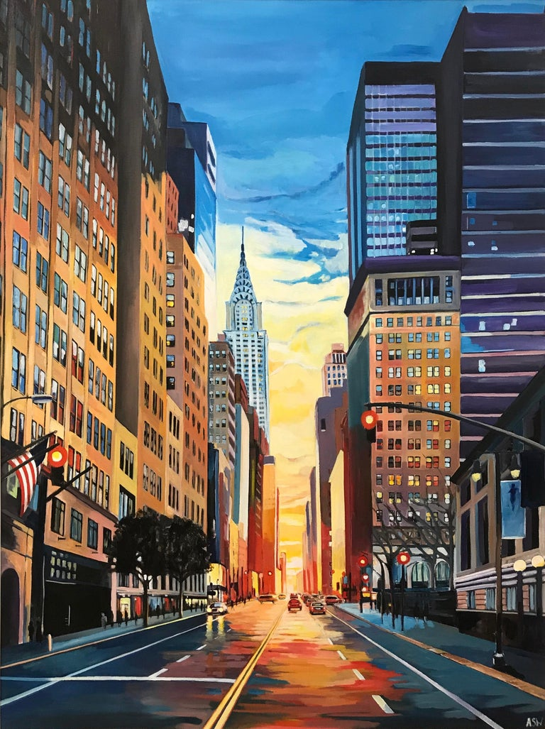 angela wakefield new york city chrysler building sunset nyc cityscape by uk architectural. Black Bedroom Furniture Sets. Home Design Ideas