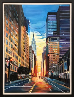 Original Painting of New York City Chrysler Building Sunset by British Artist