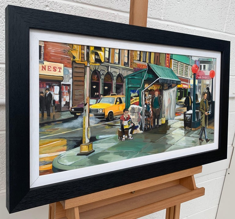 New York City Street Scene Painting by leading British Contemporary Artist, Angela Wakefield.  Art measures 24 x 12 inches Frame measure 28 x 16 inches  Angela Wakefield has twice been on the front cover of 'Art of England' and featured in ARTnews,