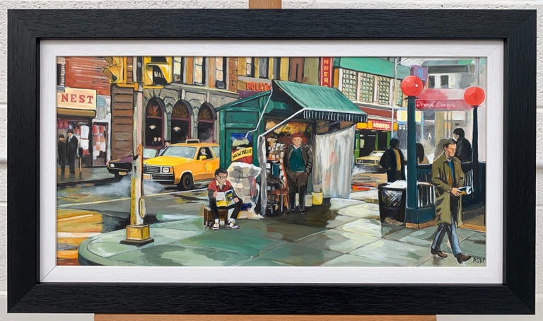 New York City Street Scene Painting by Leading British Contemporary Artist - Gray Landscape Painting by Angela Wakefield