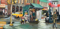 New York City Newsstand Street Scene Painting by Leading British Urban Artist