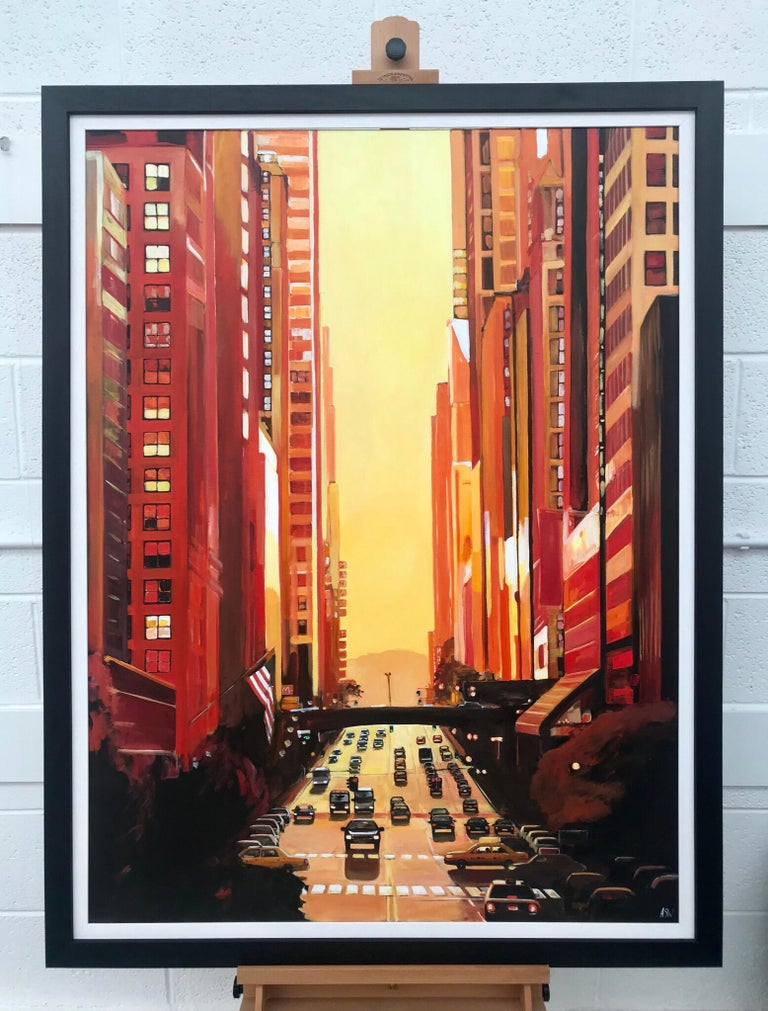 New York City NYC Street Sunshine Landscape Painting by British Cityscape Artist For Sale 1