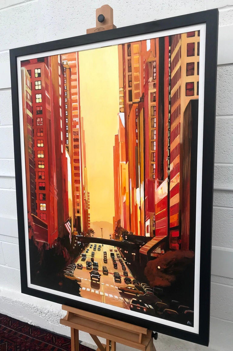 New York City NYC Street Sunshine Landscape Painting by British Cityscape Artist For Sale 2