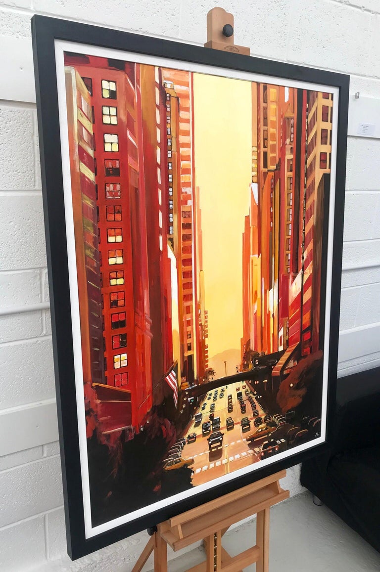 New York City NYC Street Sunshine Landscape Painting by British Cityscape Artist For Sale 3