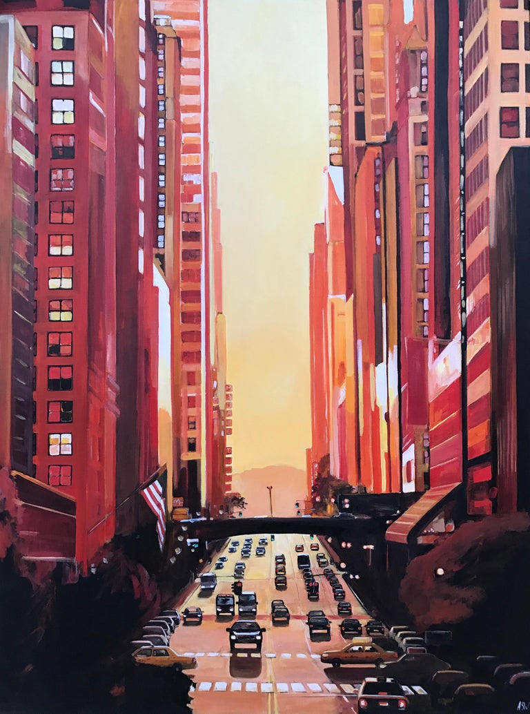 New York Sunshine Golden Glow Cityscape Painting by British Urban Landscape Artist Angela Wakefield. This original is part of the New York Series, a body of work featured in exhibitions across England, and featured in Art of England magazine as part