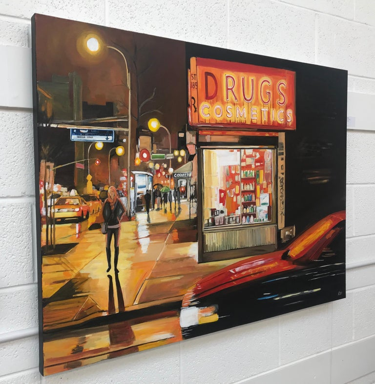 New York City Street Corner Painting by Leading British Urban Landscape Artist - Black Figurative Painting by Angela Wakefield
