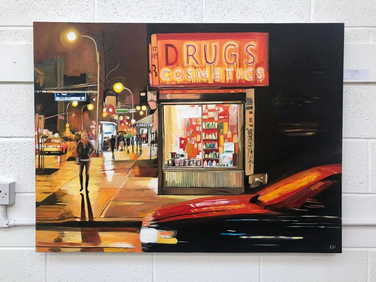 New York Drug Store is a partial homage to Edward Hopper, yet Angela incorporates the New York City of today. The movement of the traffic, the figurative elements and the behaviour of light in this urban environment are beautifully combined in