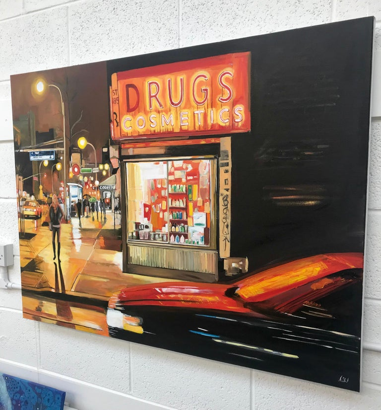 New York City Street Corner Painting by Leading British Urban Landscape Artist For Sale 1