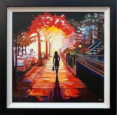 New York Sunshine Figurative Cityscape Painting British Urban Landscape Artist
