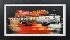 American Diner Connecticut USA at Night Painting by British Contemporary Artist