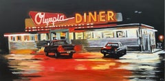 Olympia American Diner Connecticut USA at Night Painting by British Urban Artist