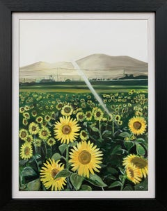 Original Painting of a Field of Sunflowers in Sunshine France by British Artist