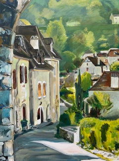 Original Painting of Saint Cirq Lapopie Midi-Pyrénées France by British Artist