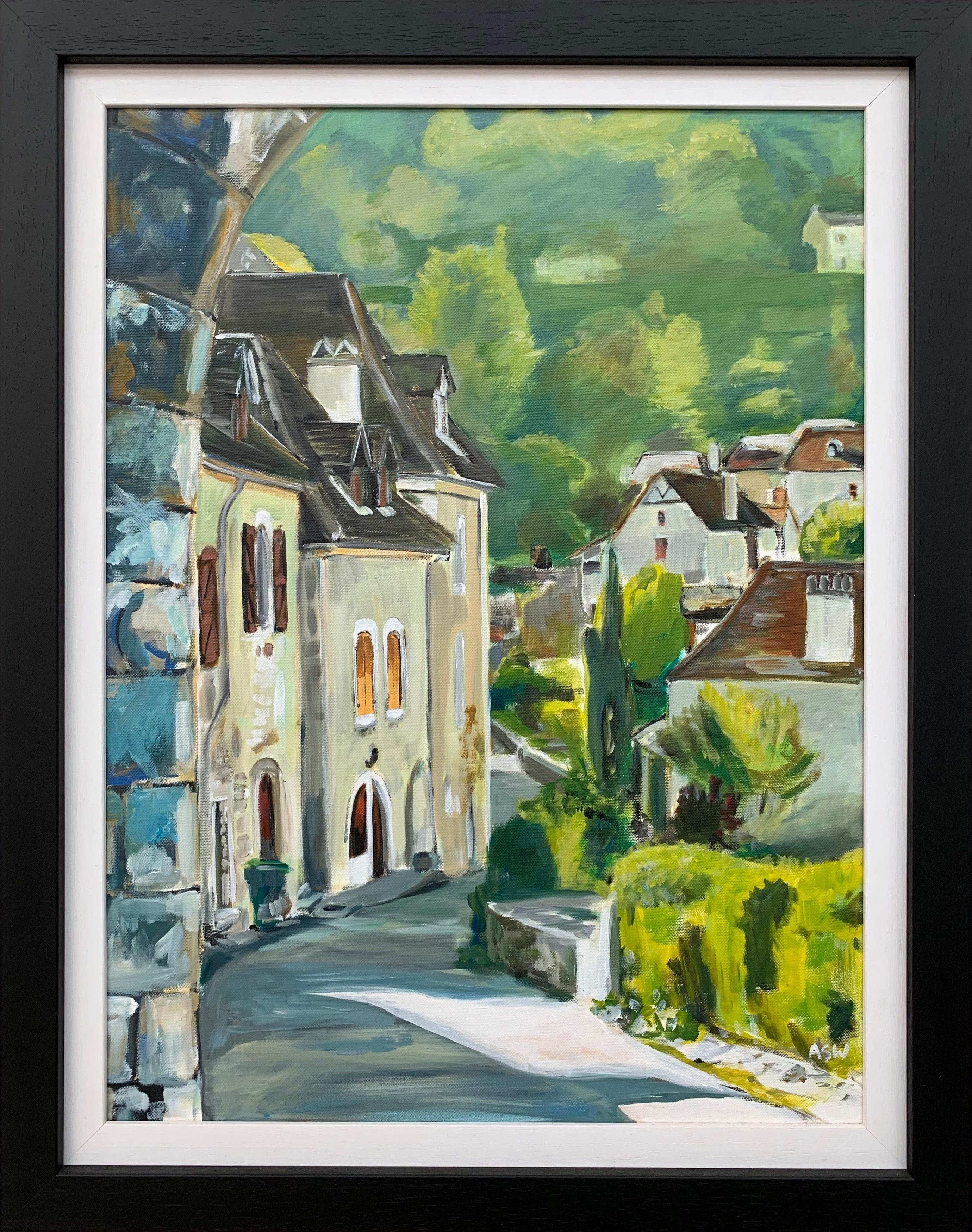 Painting of Medieval French Village Saint Cirq Lapopie by Modern British Artist