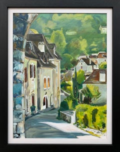 Painting of Medieval French Village Saint Cirq Lapopie by Modern British Artist