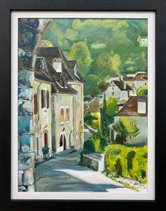 Original Painting of Saint Cirq Lapopie Midi-Pyrénées France by British Artist