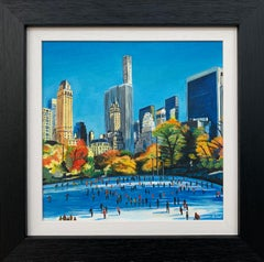 Painting of Skaters in Central Park New York City Autumn Fall by British Artist