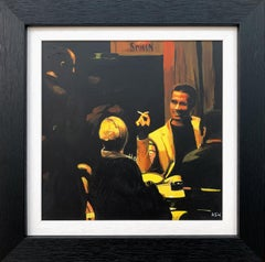 Original Painting of Spanish Tapas Bar Interior Scene at Night by British Artist