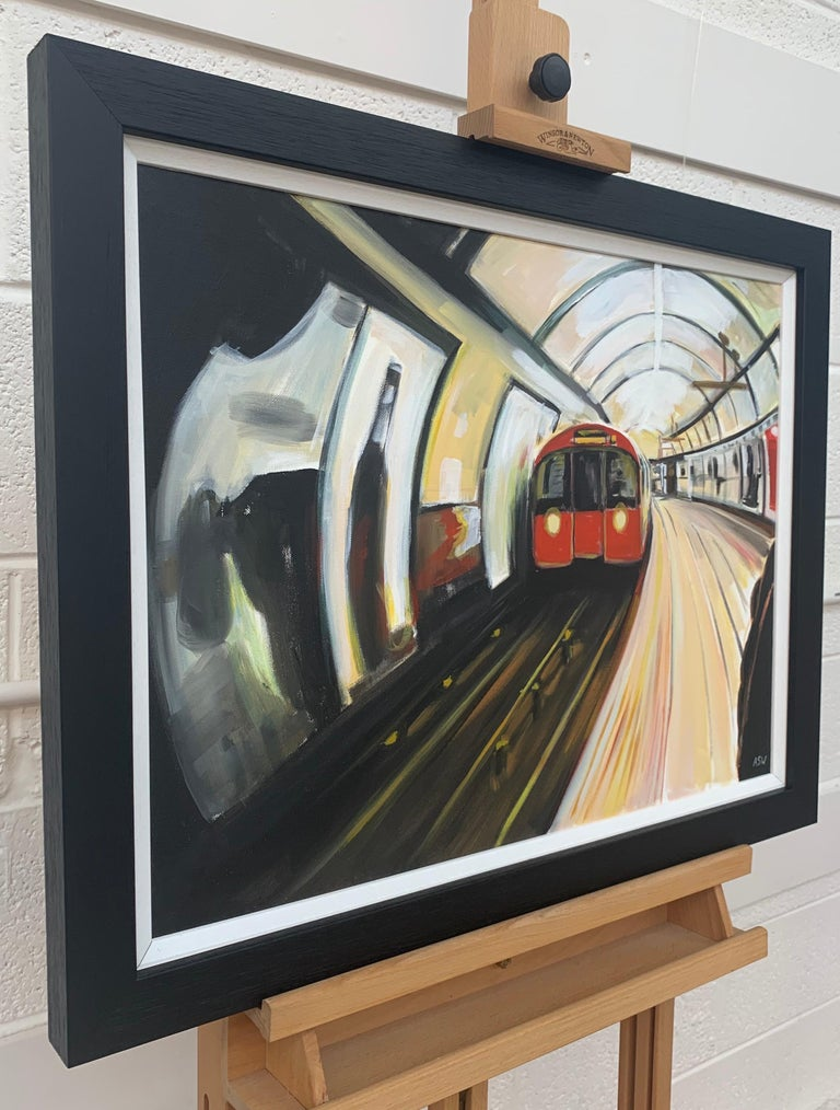 Original Painting of the London Underground by Contemporary Urban Artist - Black Interior Painting by Angela Wakefield