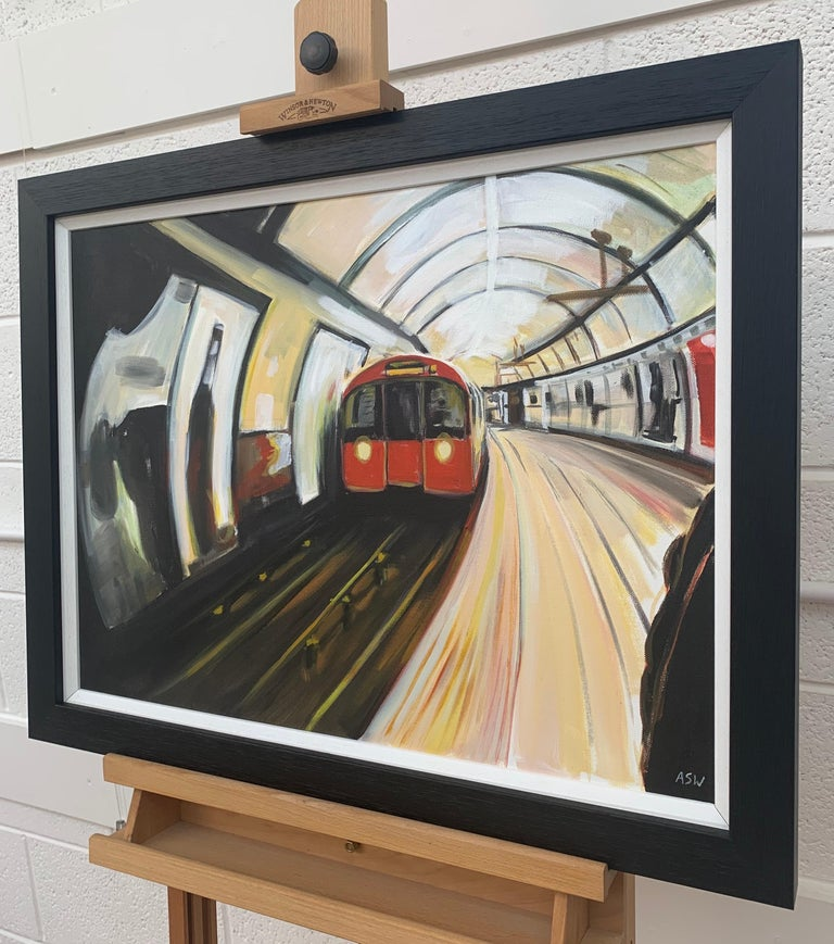 Original Painting of the London Underground by Contemporary Urban Artist For Sale 1