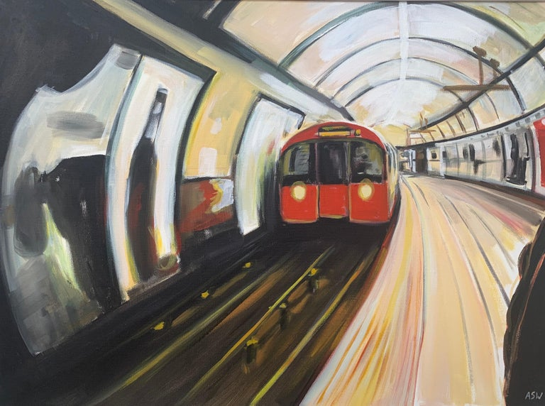 Original Painting of the London Underground by Contemporary Urban Artist For Sale 2