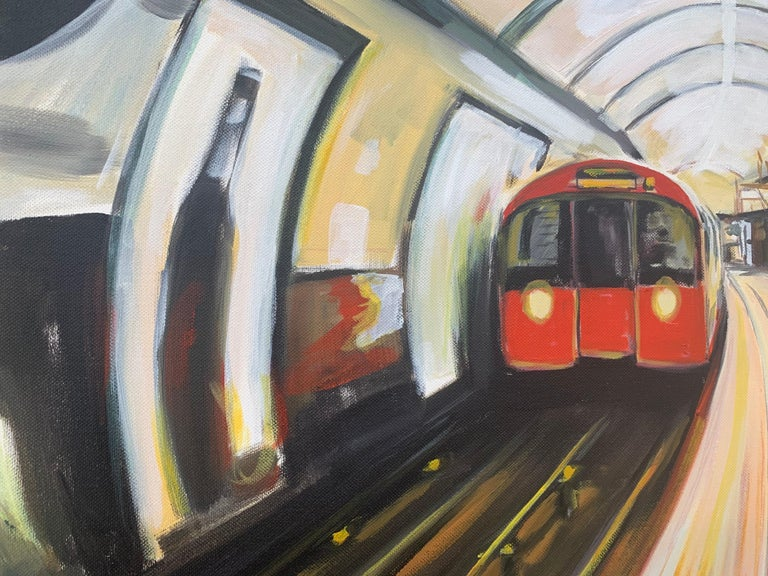 Original Painting of the London Underground by Contemporary Urban Artist For Sale 3