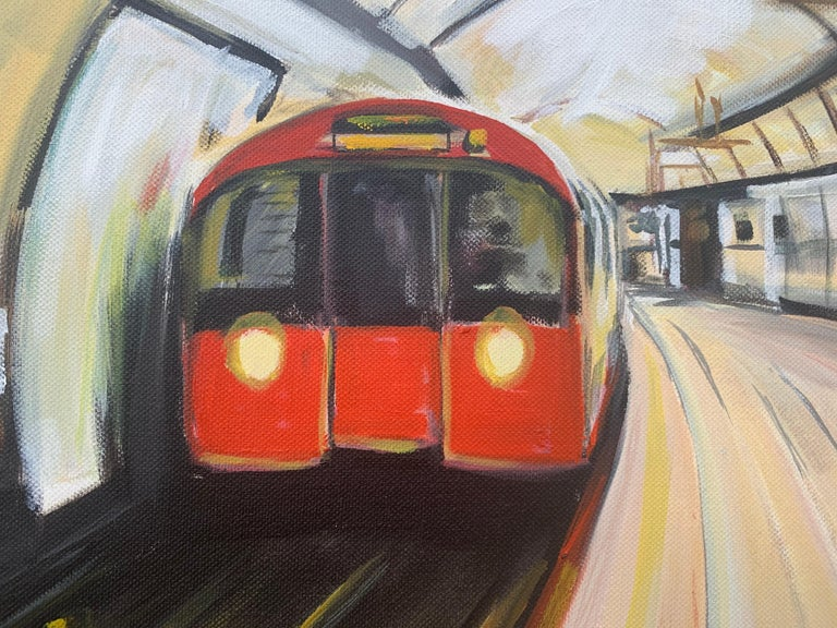 Original Painting of the London Underground by Contemporary Urban Artist For Sale 4